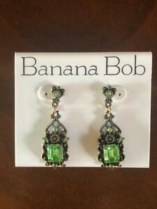 NEW - VINTAGE Banana Bob Drop & Dangle Pierced Earrings with Swarovski Crystals