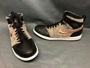 Nike Jordan 1 Retro High GP (PS) Athletic Sneakers Grey Black Girls Size 3 NEW!
