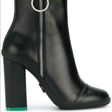 GORGEOUS Off-White Black Leather Chunky Ankle Boot SZ. 36