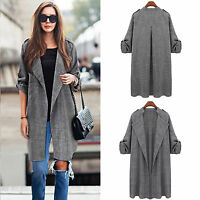 Fashion Womens Long Waterfall Coat Jacket Cardigan Overcoat Jumper Plus Size Top