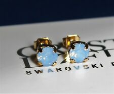 Gold Plated Air Blue Opal Stud Earrings made with Swarovski Crystal Elements