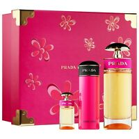 PRADA CANDY WOMEN PERFUME 3 PC GIFT SET EDP 2.7 OZ + 2.5 B/L + MINI NEW IN BOX
