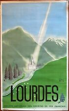 Poster Tourism Heavy Train SNCF Chemins Iron French Herve Baille 1947