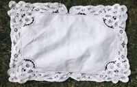 Estate White On White Cotton Embroidery Laced Table 8 Placemats Place mat*