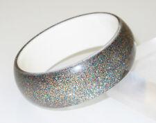 Vintage Lucite Bracelet Bangle crystal clear multicolor flakes inclusion