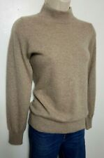 M&S 100% Pure Cashmere Suéter Reino Unido 12 Beige Cuello Alto 377
