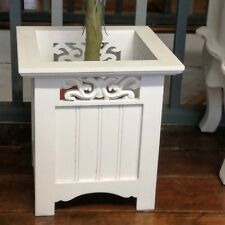 Flower Plant Planter Decorative Wood Painted White Indoor Square  Container Pot