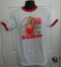 PAMELA ANDERSON BAEWATCH MENS SMALL WHITE & RED 80'S STYLE SHORT SLEEVE T-SHIRT