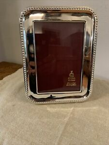 """Cunill Contemporary Bead 5""""x 7"""" Sterling Silver Picture Frame"""