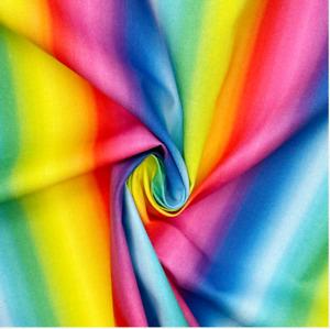 Crafty Cottons Digital Printed 100% Cotton Fabric- Rainbow stripe