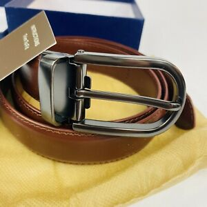 Bigant Trim-to-fit Leather Belt, Dark Metal Buckle With Cognac Brown Leather