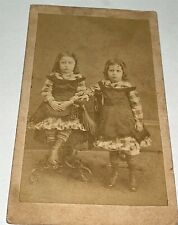 Rare Antique Victorian American Twin Girls, Matching Outfits! Indiana CDV Photo!
