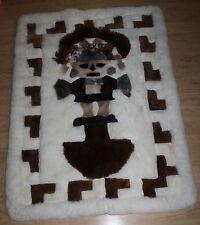 Peruvian Real Alpaca Fur Rug Tumi White/Brown Rectangle 4.5' x 3.5' Inca Native