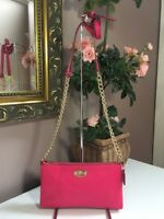 Coach Crossbody Bag Pebble Leather Quinn F52709 Chain Strap Pink B7