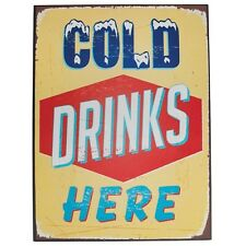 dotcomgiftshop COLD DRINKS HERE VINTAGE METAL SIGN