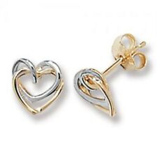 9Ct Gold Two Colour double Heart Stud Earrings