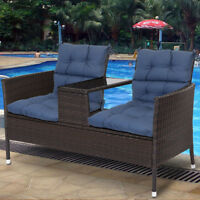 """45"""" Seat/Back Chair Cushion Tufted Pillow Indoor Outdoor Swing Seat Set Of 2"""