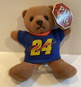 "Jeff Gordon #24 Bean Bag Brown Bear Pit Pals Blue Shirt With Tag NASCAR 5"""