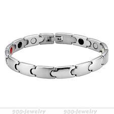 Energetix Magnet Armband Edelstahl Armreif Uform Damen Schmuck Silber Breite 8mm
