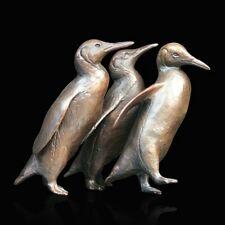 Penguin Group Solid Bronze Foundry Cast Sculpture by Michael Simpson [927]