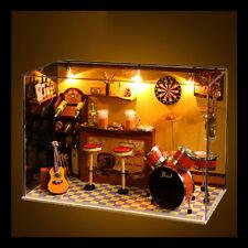 Wooden Dolls house Miniature DIY Kit w/ Cover Display +LED Light/Music box