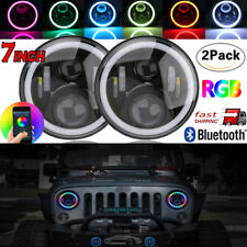 "7"" LED Headlight RGB Angel Eye Light Bluetooth App Lamp For Jeep Wrangler Hummer"