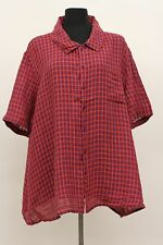 FLAX BOLD 2015 LINEN PLUS RECAMP SHIRT S/S BUTTONED BLOUSE GRAPE TATTERSALL 2G