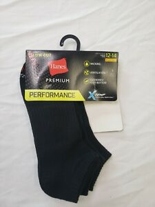 Hanes Premium Mens 3 Pck Low Cut Socks Performance Wicking Ventilation Size 6-12