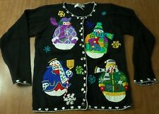 ARRIVISTE Christmas cardigan sweater small Fancy Snowman ugly 1980s snowflakes
