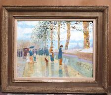 MAGNIFICENT 1909 OIL ON BOARD PARIS BOOK BUYERS PAINTING BY JOHN MORRIS L.A.