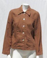 OF THE EARTH Women's Brown 100% Hemp Button Jacket Top size M 8 EUC