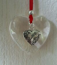 Handmade Hanging glass heart decoration valentines gift with love heart charm