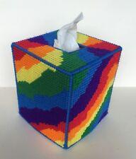 Tie-Dye Look Tissue Cover handmade Rainbow colors yarn & plastic canvas