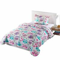 2pcs Kids Quilt Bedspread Comforter Set Throw Blanket for Boys Girls A32 quilt