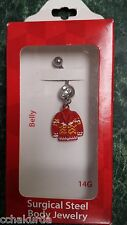 Body Jewelry Belly Piercing Red Christmas Sweater Dangle Surgical Steel