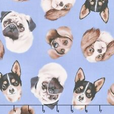 Timeless Treasures Dog Faces Toss Blue 100% Cotton Fabric By the yard