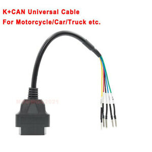 16pin OBD2 ODB II Cable Adapter Connector for Motorcycle Scooter K/CAN Universal