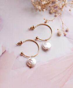 Gold Hoop Pearl Earrings, Jewellery, Gold Hoops, Bridesmaid Gift, Bridal, Studs