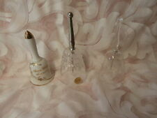 3 Vtg. Crystable Bells Lefton Porc.-Lead Crystal- Beautiful-Free Shipping-