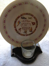 Birth Announcement Porcelain Plate & Wood Candle Holder Religious Baby Infant