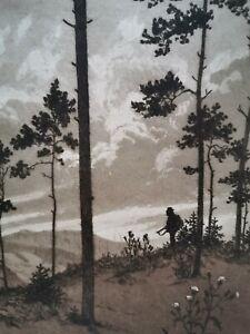 Grosse Radierung, Abend im Hochgebirge, handsigniert, J. F. BENESCH