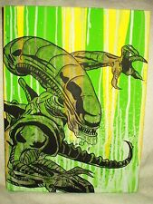 Canvas Painting Alien Movie Leap Green Stripes Art 16x12 inch Acrylic