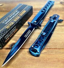 Tac-Force Tacti Spring Assisted Stiletto GOD Father Blue Pocket knife W/ Clip
