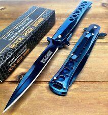 Tac-Force Tacti Spring Assisted Stiletto GOD Father Blue Pocket knife W/ Clip
