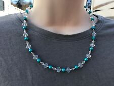 HDMD by Cyndi Necklace of Aqua Blue Round Glass Pearls and Clear Glass Beads