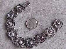 """7 3/8""""  Antique Sterling Silver Filigree Flower Bracelet 8 Grams"""