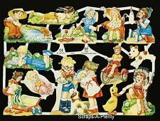 German Victorian Style Embossed Scrap Die Cut Relief - Playing Children EF7032