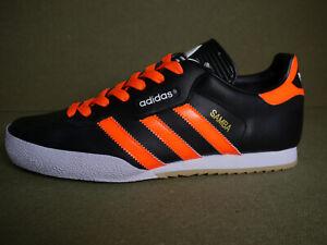 Adidas Samba Super Black Leather CUSTOM Orange Stripes & Laces (UK 10) BNIBWT
