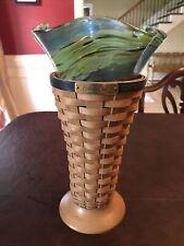 Longaberger 2010 Collectors Club Charter Member Basket & Glass Vase