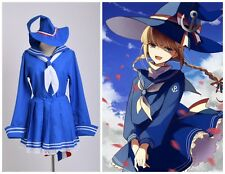 Wadanohara BLUE Sailor Uniform With Socks Witch Dress Anime Cosplay Costume